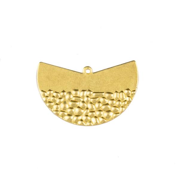 Coated Brass 12x42mm Half Textured Fan Drop Components - 6 per bag - CTBXJ-046c