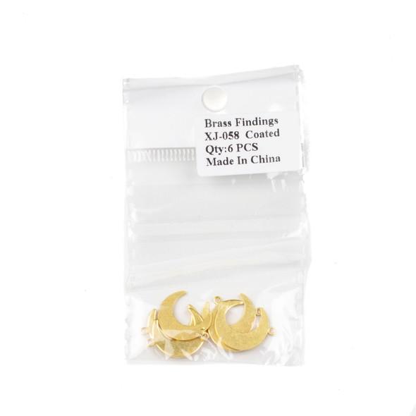 Coated Brass 14x18mm Crescent Moon Drop Components - 6 per bag - CTBXJ-058c