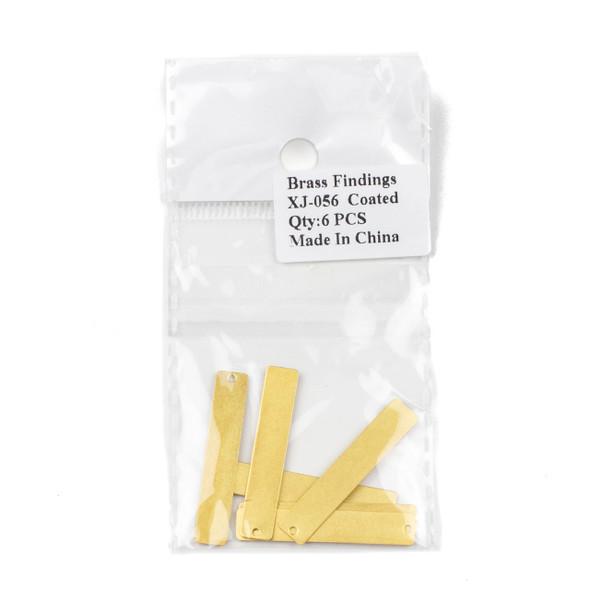 Coated Brass 6x36mm Rectangle Drop Components - 6 per bag - CTBXJ-056