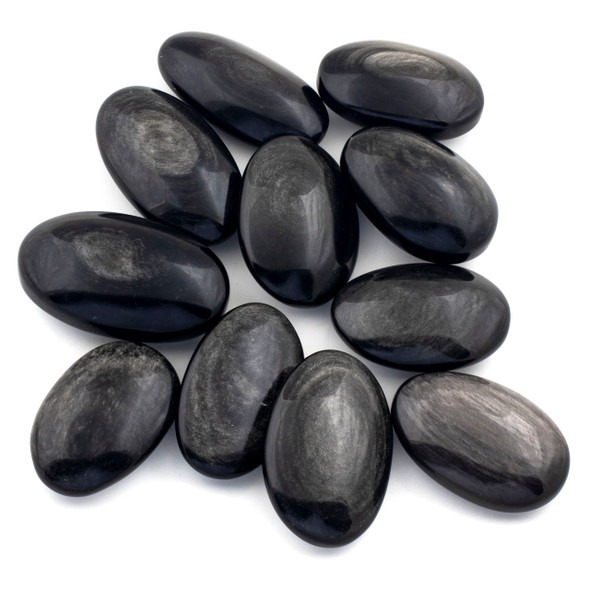 Silver Obsidian Large Palm Stone - 1 per bag
