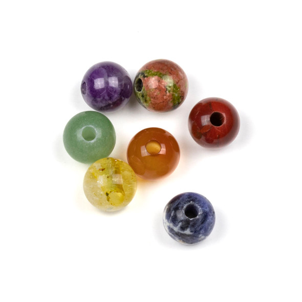Large Hole Chakra 10mm Round Bead Set with a 2.5mm Drilled Hole - 7 beads per bag