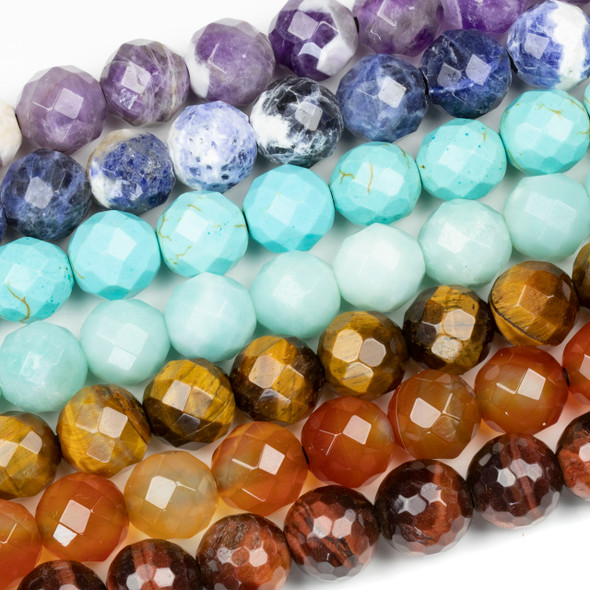 Large Hole Chakra 12mm Faceted Round Bead Set with a 2.5mm Drilled Hole - 7 beads per bag
