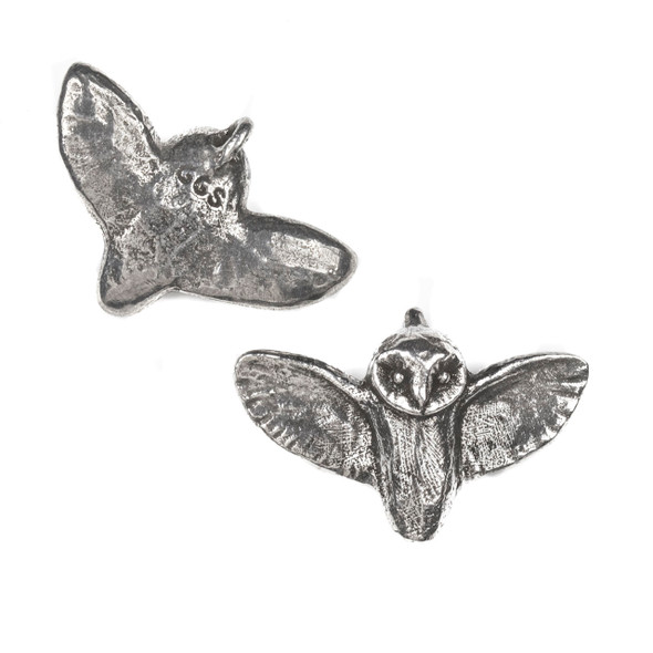 Green Girl Studios Pewter 22x33mm Flying Owl Pendant - 1 per bag