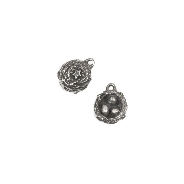 Green Girl Studios Pewter 11x14mm Tiny Nest Dangle - 1 per bag