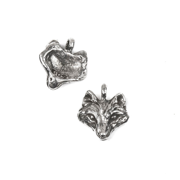 Green Girl Studios Pewter 18x19mm Wolf Head Charm - 1 per bag