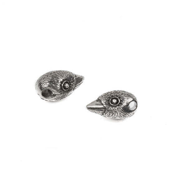Green Girl Studios Pewter 11x20mm Robin's Head Bead - 1 per bag