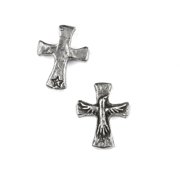 Green Girl Studios Pewter 18x23mm Dove Cross Dangle - 1 per bag