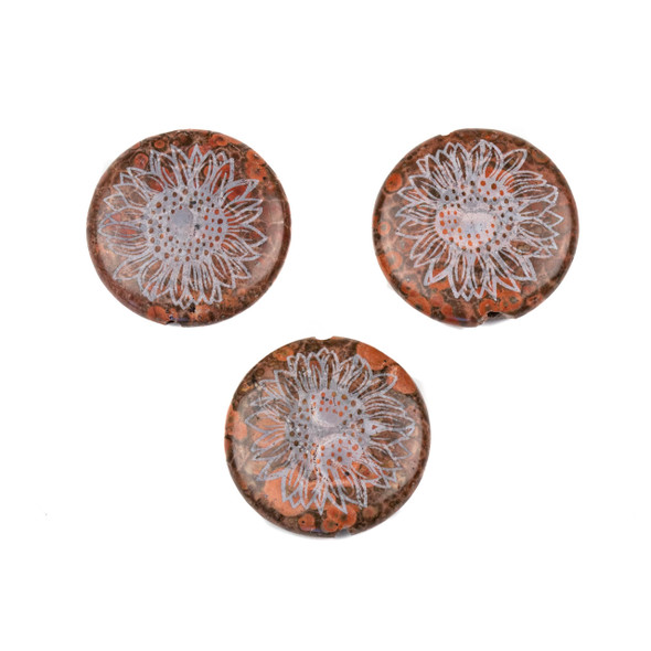 Red Orbicular Jasper 30mm Etched Sunflower Center Drilled Coin Pendant - 1 per bag
