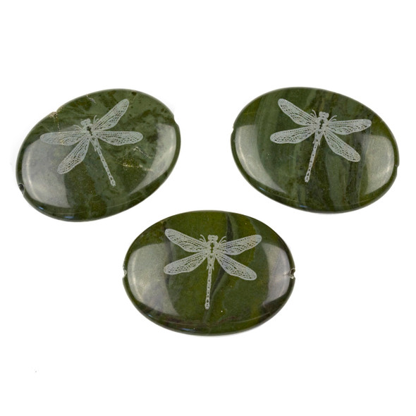 African Green Jasper 30x40mm Etched Dragonfly Center Drilled Oval Pendant - 1 per bag