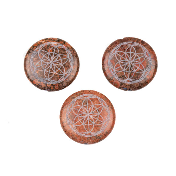 Red Orbicular Jasper 30mm Etched Sacred Geometry Center Drilled Coin Pendant - 1 per bag