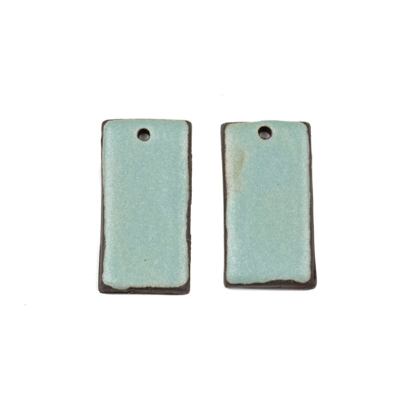 Handmade Ceramic 18x35mm Satin Turquoise Rectangle Focals - 1 pair/2 pieces per bag