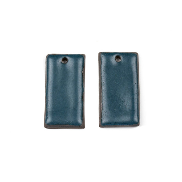 Handmade Ceramic 18x35mm Satin Dark Teal Rectangle Focals - 1 pair/2 pieces per bag