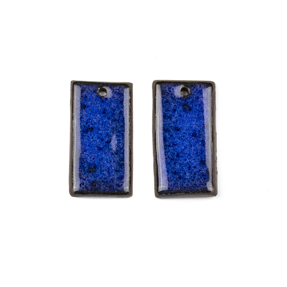 Handmade Ceramic 18x35mm Blue Surf Rectangle Focals - 1 pair/2 pieces per bag