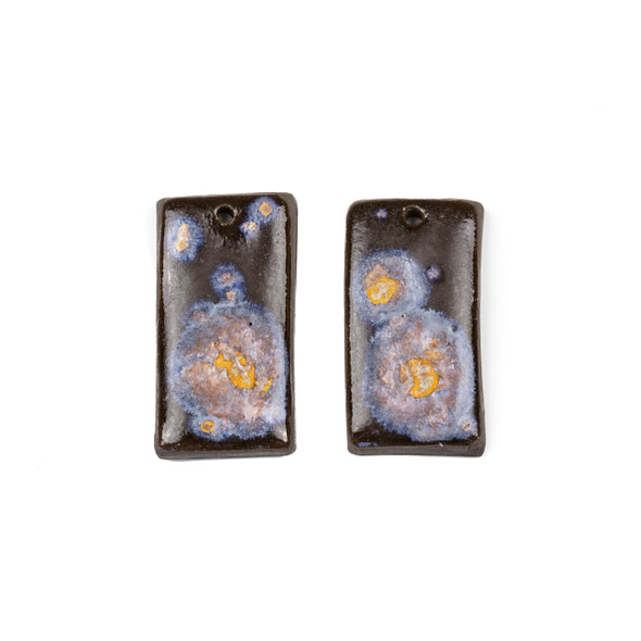 Handmade Ceramic 18x35mm Galaxy Rectangle Focals - 1 pair/2 pieces per bag