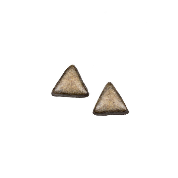 Handmade Ceramic 18x35mm Mountain Frost Triangle Cabochons - 1 pair/2 pieces per bag