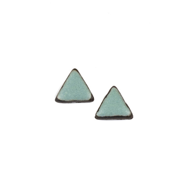 Handmade Ceramic 18x35mm Satin Turquoise Triangle Cabochons - 1 pair/2 pieces per bag