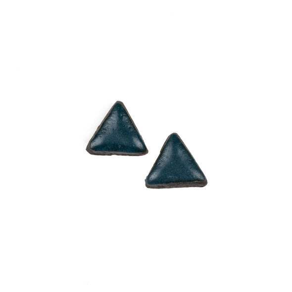 Handmade Ceramic 18x35mm Satin Dark Teal Triangle Cabochons - 1 pair/2 pieces per bag