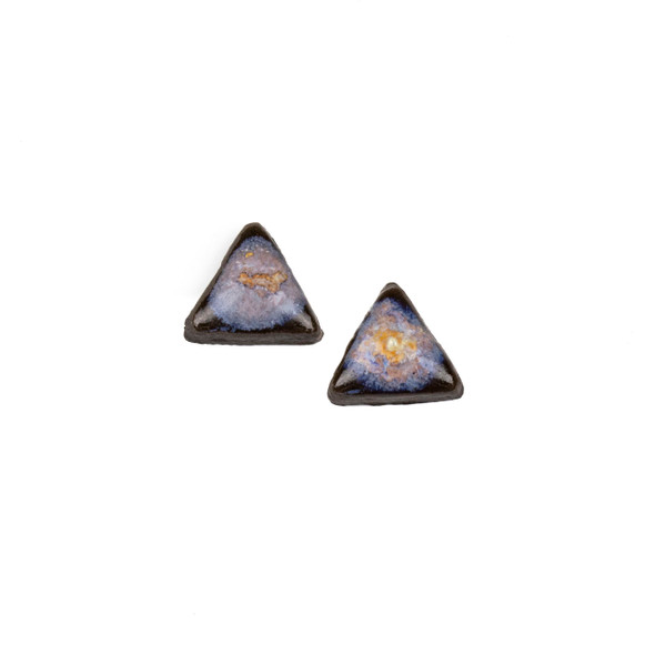 Handmade Ceramic 18x35mm Galaxy Triangle Cabochons - 1 pair/2 pieces per bag
