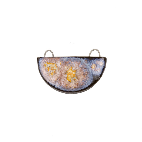 Handmade Ceramic 22x34mm Galaxy Half Circle Focal Pendant - 1 per bag