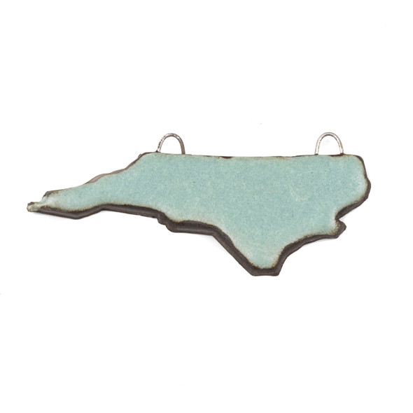 Handmade Ceramic 24x60mm Satin Turquoise North Carolina State Focal Pendant - 1 per bag