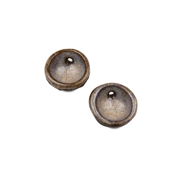 Handmade Ceramic 20mm Mountain Frost Cupped Disc Focals - 1 pair/2 pieces per bag