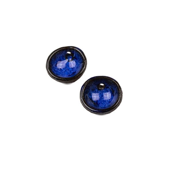 Handmade Ceramic 20mm Blue Surf Cupped Disc Focals - 1 pair/2 pieces per bag