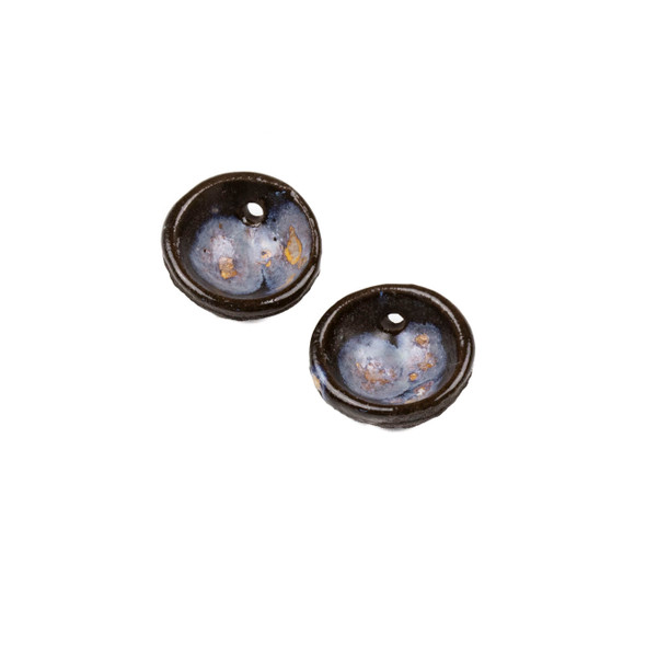 Handmade Ceramic 20mm Galaxy Cupped Disc Focals - 1 pair/2 pieces per bag