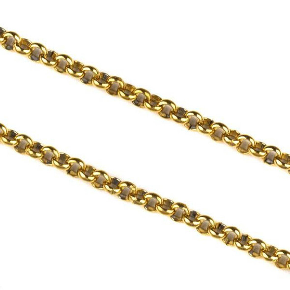Gold Plated Stainless Steel 2mm Rolo Chain - 2 meter, SS04g-2m