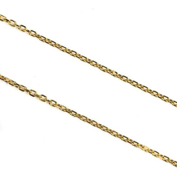 Gold Plated Stainless Steel 1mm Small Flat Cable Chain - 2 meters, SS01g-2m