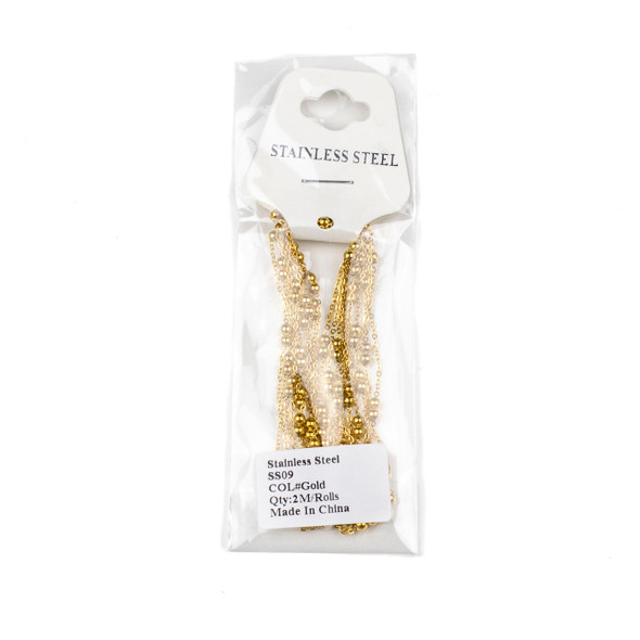 Gold Plated Stainless Steel 3mm Ball and Curb Chain - 2 meters, SS09g-2m