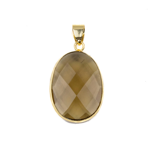 Smoky Quartz 17x26mm Oval Pendant Drop with a Brass Plated Base Metal Bezel and 7mm Bail - 1 per bag