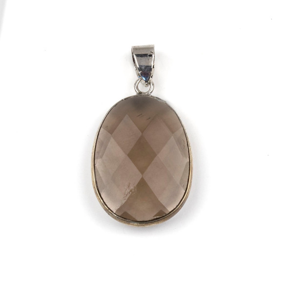 Smoky Quartz 17x26mm Oval Pendant Drop with a Silver Plated Brass Bezel and 7mm Bail - 1 per bag
