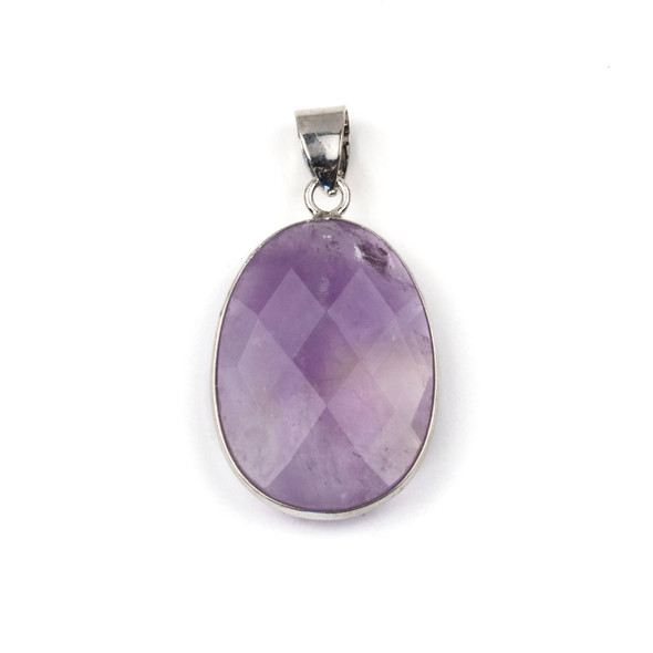Amethyst 17x26mm Oval Pendant Drop with a Silver Plated Brass Bezel and 7mm Bail - 1 per bag