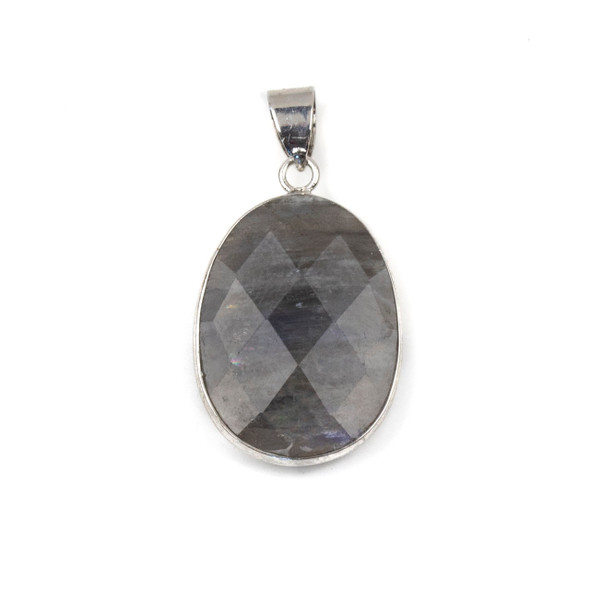 Labradorite 17x26mm Oval Pendant Drop with a Silver Plated Brass Bezel and 7mm Bail - 1 per bag