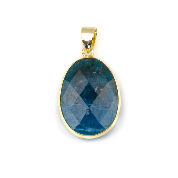 Apatite 17x26mm Oval Pendant Drop with a Brass Plated Base Metal Bezel and 7mm Bail - 1 per bag