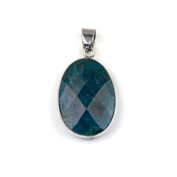 Apatite 17x26mm Oval Pendant Drop with a Silver Plated Brass Bezel and 7mm Bail - 1 per bag