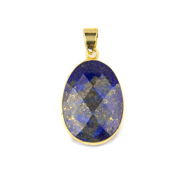 Lapis 17x26mm Oval Pendant Drop with a Brass Plated Base Metal Bezel and 7mm Bail - 1 per bag