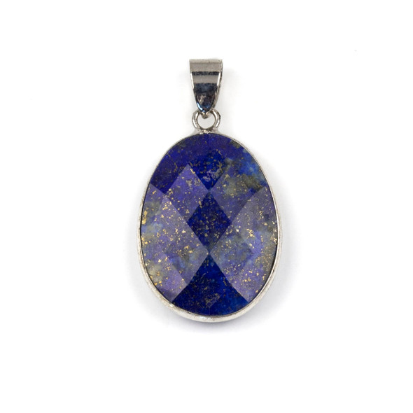 Lapis 17x26mm Oval Pendant Drop with a Silver Plated Brass Bezel and 7mm Bail - 1 per bag
