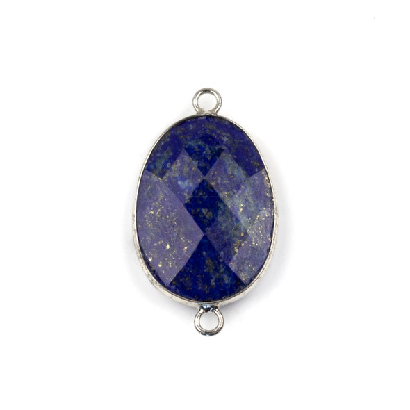 Lapis approximately 17x30mm Faceted Irregular Oval/Free Form Link with a Silver Plated Base Metal Bezel - 1 per bag