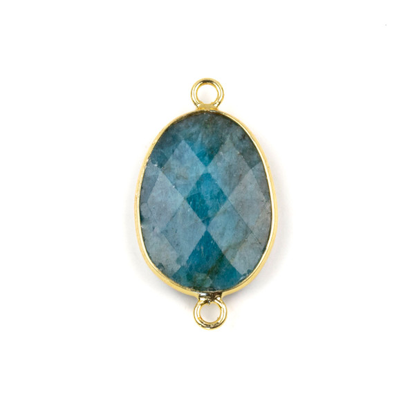Apatite approximately 17x30mm Faceted Irregular Oval/Free Form Link with a Brass Plated Base Metal Bezel - 1 per bag