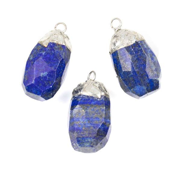Lapis 20x38mm Faceted Nugget Pendant with Silver Plated Cap and Loop - 1 per bag