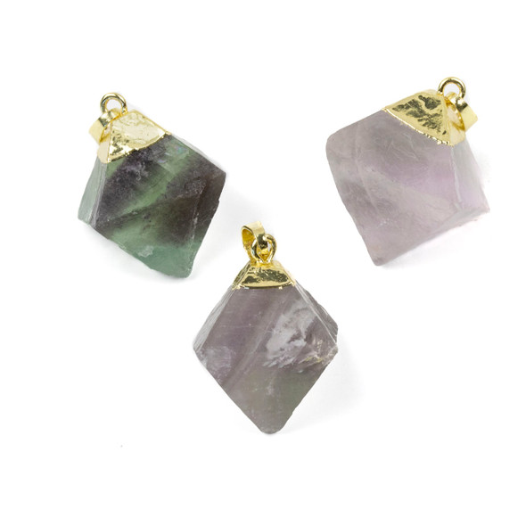Natural Green and Purple Fluorite 25-30mm Diamond Point Pendant with Gold Plated Cap and Bail - 1 per bag