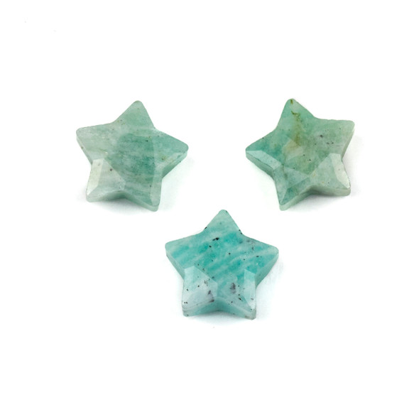 Amazonite 12x13mm Top Drilled Faceted Star Pendant - 1 per bag