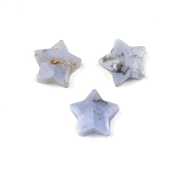 Blue Lace Agate 12x13mm Top Drilled Faceted Star Pendant - 1 per bag