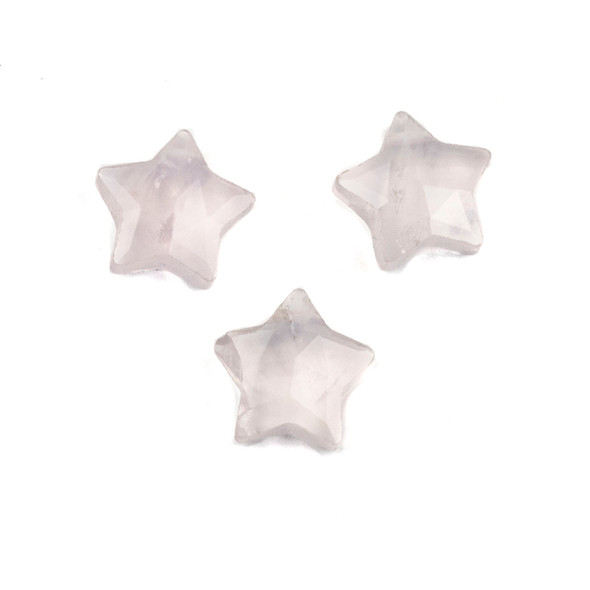 Rose Quartz 12x13mm Top Drilled Faceted Star Pendant - 1 per bag