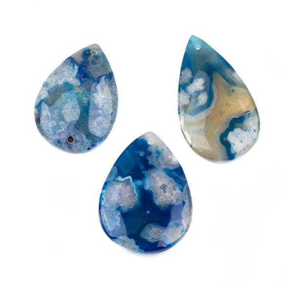 Dyed Blue Cherry Blossom Agate 30-35x45-55mm Top Front Drilled Teardrop Pendant - 1 per bag