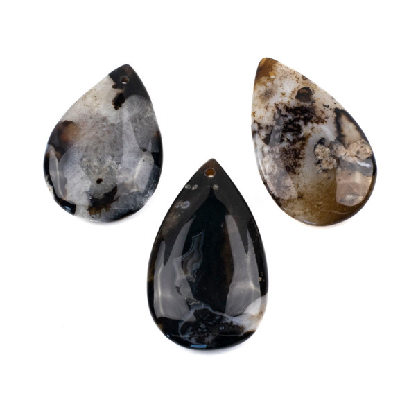 Dyed Black and Brown Cherry Blossom Agate 30-35x45-55mm Top Front Drilled Teardrop Pendant - 1 per bag