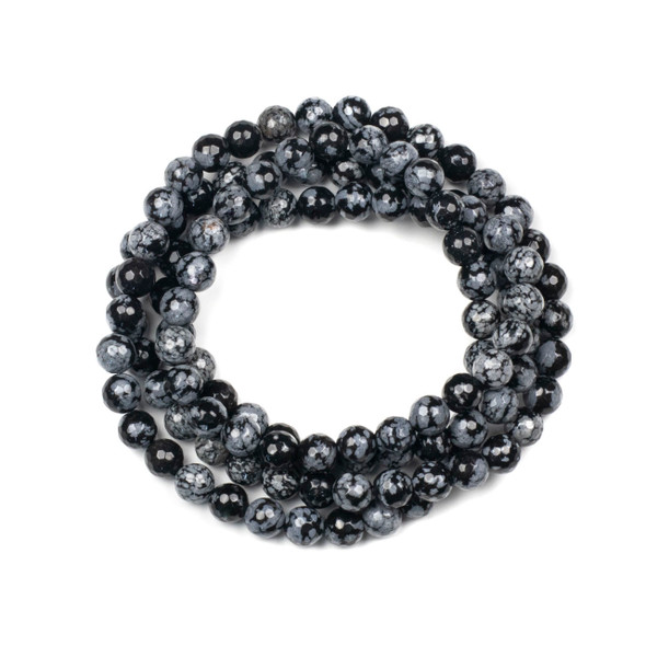 Snowflake Obsidian 8mm Mala Faceted Round Beads - 36 inch strand