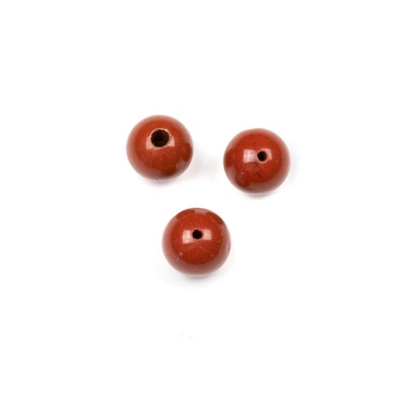 Red Jasper 10mm Guru/3 Hole Beads - 3 per bag