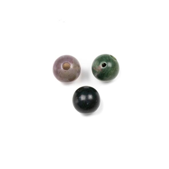 Matte Fancy Jasper 10mm Guru/3 Hole Beads - 3 per bag